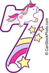 unicorn number 7 - number 7 with cute unicorn and rainbow....