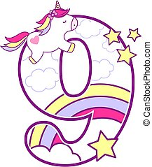 number 9 with cute unicorn and rainbow. can be used for baby birth announcements, nursery decoration, party theme or birthday invitation. Design for baby and children