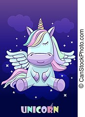 Unicorn on a background of the night sky.
