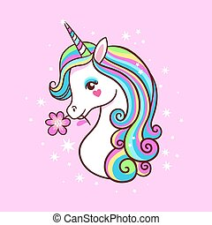 Unicorn on a pink background with stars. Postcard with milvm.
