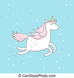 Unicorn on blue sky background with stars
