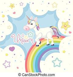 Unicorn on colorful rainbow