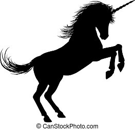 Unicorn on Hind Legs Silhouette - Unicorn mythical horse in...