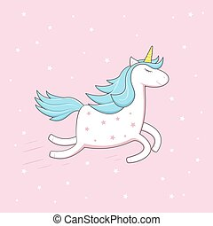 Unicorn on pink background with stars
