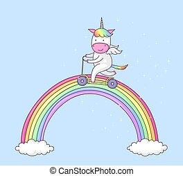 Unicorn on push scooter