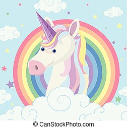 Unicorn on rainbow background