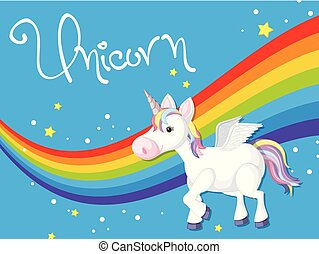 Unicorn on rainbow template