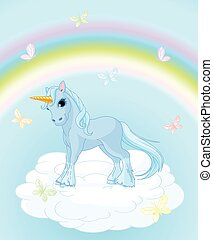 Unicorn on the Sky - Illustration of standing beautiful...