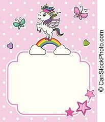 Unicorn on top of a rainbow