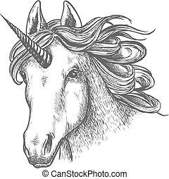 Unicorn or fairy tale animal head with horn. Wild myth mare...