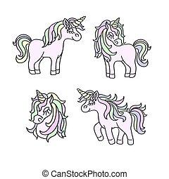 Unicorn pastel colors sketch set on the white