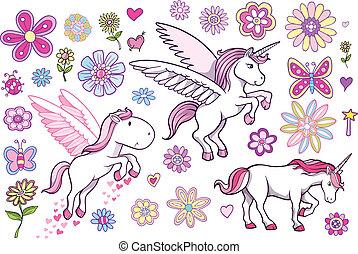 Unicorn Pegasus Fairytale Spring Vector Set