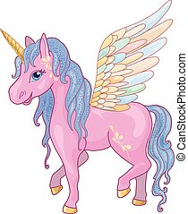 Unicorn Pegasus Vector Illustration - Magic Unicorn with...