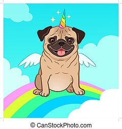 Unicorn pug dog with horn and wings vector cartoon ...