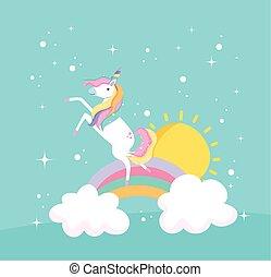 unicorn rainbow and sun