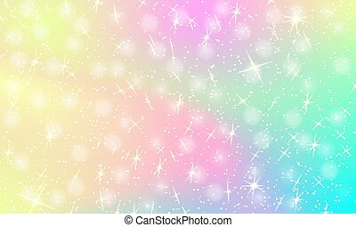 Colorful Holographic Pretty Vector Illustration In Pastel Color
