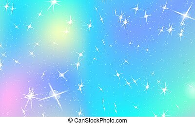 unicorn rainbow background holographic sky in pastel color bright mermaid pattern in princess vector clipart csp66118102