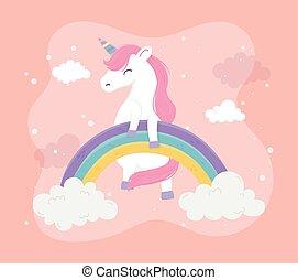 unicorn rainbow cloud magical fantasy dream cute cartoon