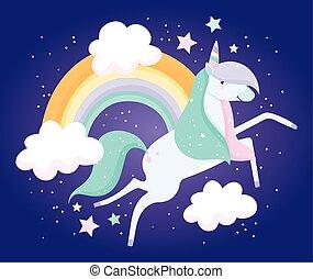 unicorn rainbow clouds fantasy magic cute cartoon