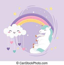 unicorn rainbow cute cloud with hearts love fantasy magic dream cartoon