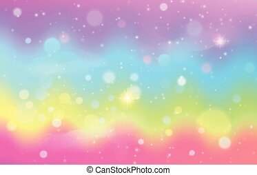 Unicorn rainbow wave background. Mermaid galaxy pattern with shiny dots particles. Pastel pink, blue, green, yellow, violet color. Vector illustration