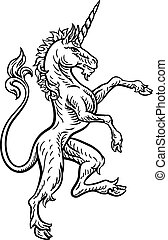 A rampant unicorn standing on hind legs from a coat of arms or heraldic crest