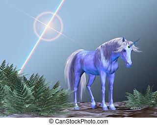 Unicorn Resting - A white unicorn rests under a bright star.