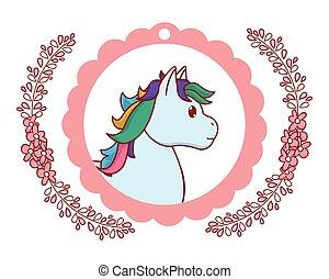 unicorn round pink icon