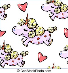 Unicorn seamless pattern Cute unicorn smiling with hearts flying