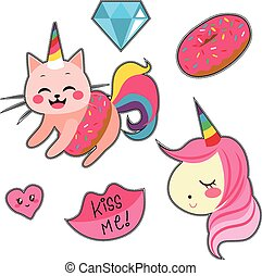 Unicorn Set - Fashion patch badges with unicorns cat and...