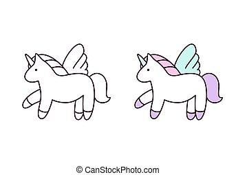 Unicorn set. Vector illustration. Colorful and line icons. Cute unicorn