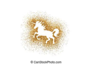 Unicorn shape on golden glitter over white background