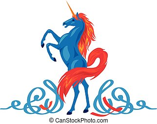 Unicorn silhouette icon logo with file tail and mane.