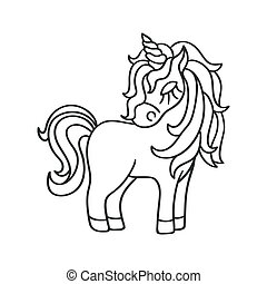 Unicorn silhouette sketch icon on the white background