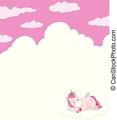 Unicorn sleeping on sky template