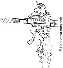 Unicorn Soldier Line Art