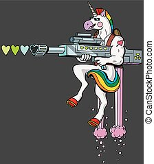 Unicorn soldier character shooting hearts with his love gun.