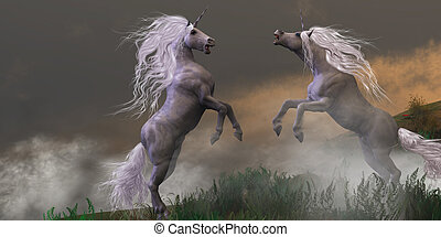 Unicorn Stallions Fighting - Lost in mountain foggy mist two...