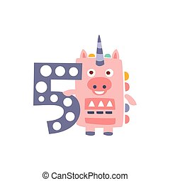 Unicorn Standing Next To Number Five Stylized Funky Animal