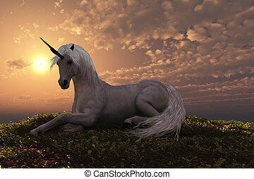 UNICORN - The fabled creature laying on a hilly knoll at...