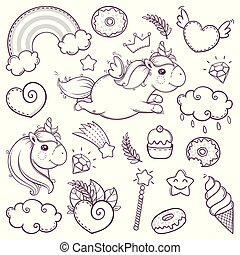 Unicorn sweet set in cartoon sketch doodle style.