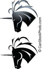 Unicorn tattoo - Black unicorn symbol in a tattoo style