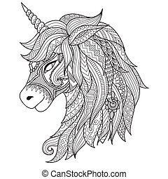 unicorn - Drawing unicorn zentangle style for coloring book,...