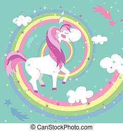 Unicorn vector illustration. Colored rainbow