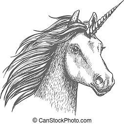 Unicorn vector sketch isolated head - Unicorn head. Mythical...