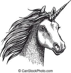 Unicorn vector sketch mystic magic horse - Unicorn sketch...