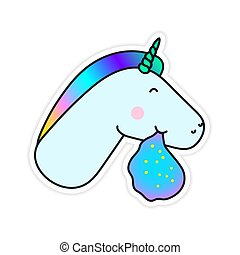 Unicorn Vomiting a Rainbow Fantasy Vector Sticker. Cute...