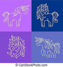 Unicorn white sketch set on the purple blue background