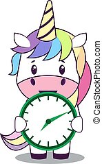 Unicorn with clock, illustration, vector on white background.