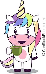 Unicorn with coffee, illustration, vector on white background.
